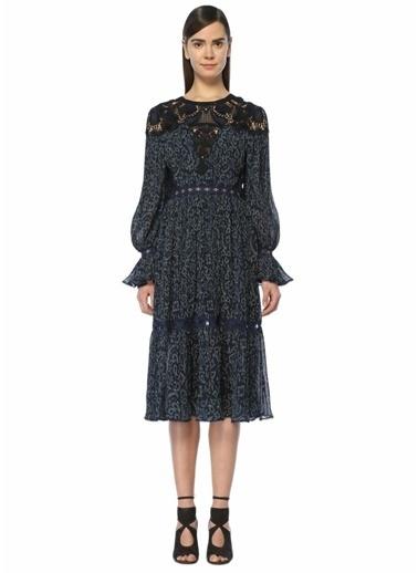 Jonathan Simkhai Desenli Pileli Midi Elbise Lacivert